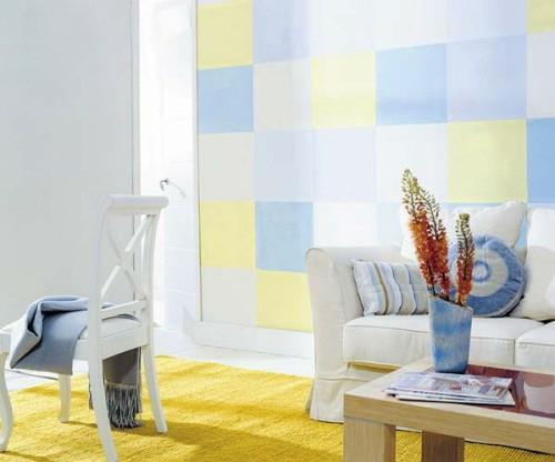 wanddekoration mit quadraten narzissengelb pastelltöne wohnzimmer weiß