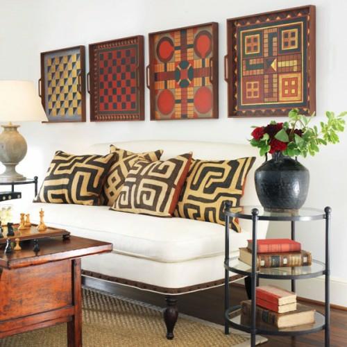 wanddekoration mit quadraten orientalisch stil wohnzimmer