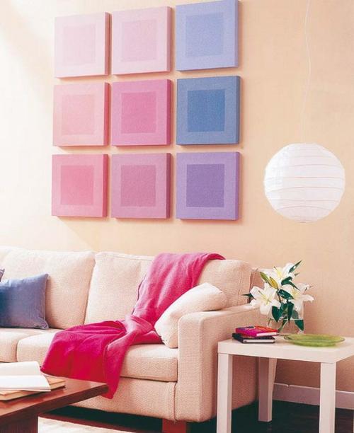wanddekoration mit quadraten zarte farben wohnzimmer
