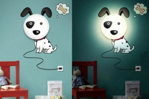 Wandlampen im Kinderzimmer designer idee hund weiß schwarz