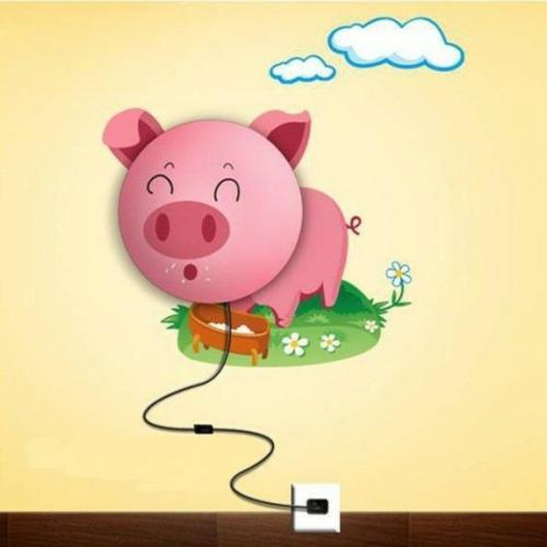 wandlampe im kinderzimmer designer idee rosa farbig schwein