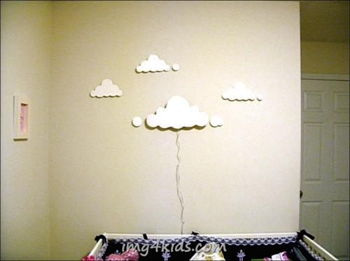 wandlampe im kinderzimmer designer idee wolken weiß