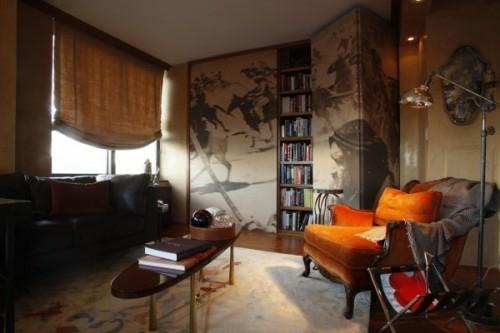 wandmalerei idee dunkel zimmer interieur rund dekorativ tisch geheimtür