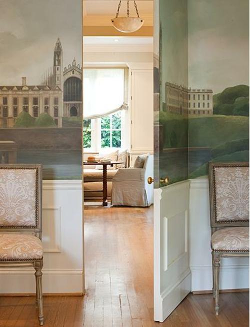 wandmalerei idee geheimtüren bodenbelag holz klassisch ausstattung