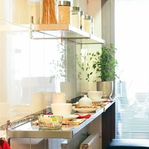 wandregalekompakte Frühstückstische kücheideeinterieur fensterladen