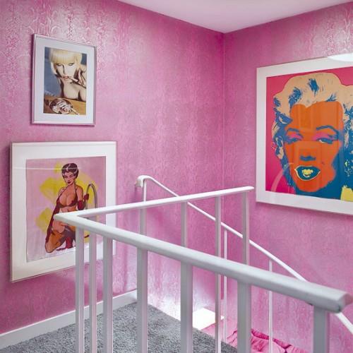 wandverzierungen pop art deko ideen merilyn monrou treppe