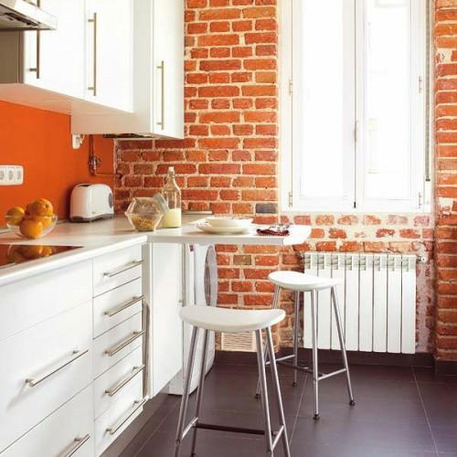 Weiß Küche Klein Esstisch Ziegelwand Modern 10 Praktische Esstisch Ideen  Für Ihre Kompakte Küche ...