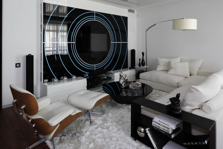 wohnzimmer weiß schwarz:Black and White Living Room Design Ideas