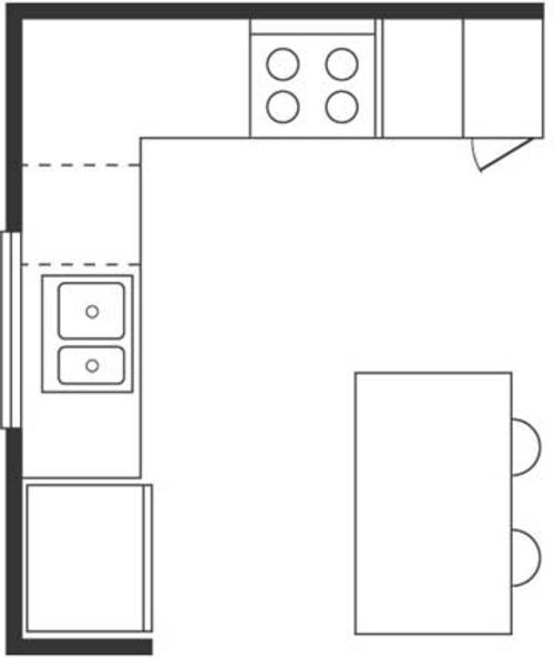 Küche mit kochinsel grundriss  Wichtige Küchen Grundrisse - Entwürfe und Musterküchen
