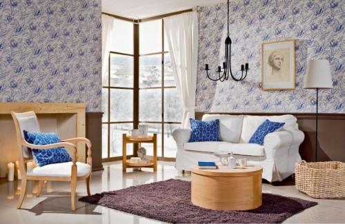 wohnzimmer design voller kontraste farben