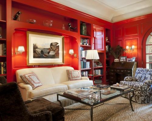 wohnzimmer geeignet heimbüro rot wände bequem ledersofa Heimbüro mit roten Akzenten