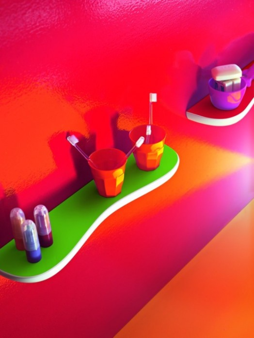 zahnbrüste wandregal grün orange rot idee kinder badezimmer