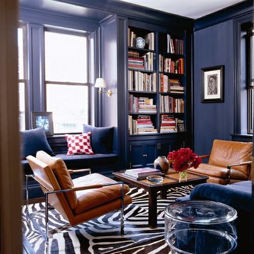 zebrastreifen design wohnzimmer teppich originel extravagant ledersessel braun