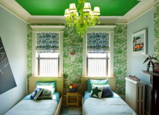 zwei betten kinderzimmer grün farbe ausstattung