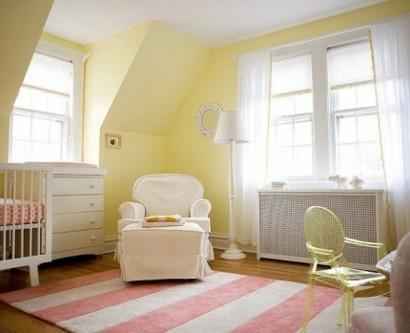 Gelbe Und Rosa Interieur Elemente Im Babyzimmer Inspirierende Idee