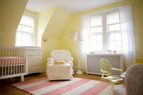 Gelbe und rosa interieur elemente im babyzimmer inspirierende idee - Babyzimmer gelb ...