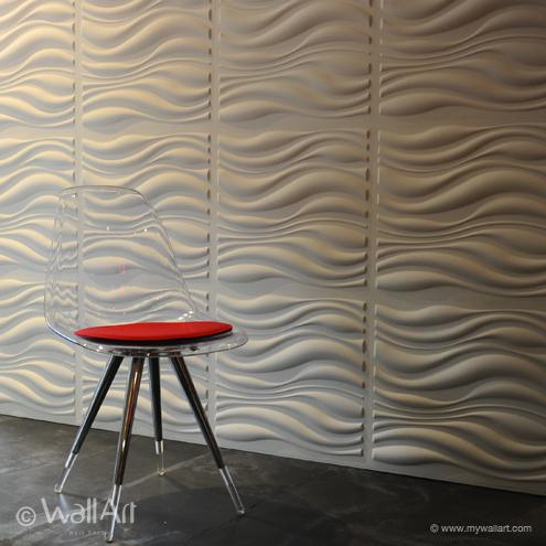 3D Wandpaneele wellen akrylstuhl idee design