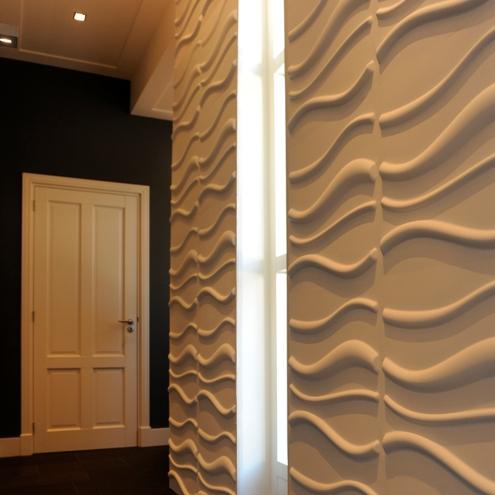 3d wallpaneele flur korridor wellen locken design