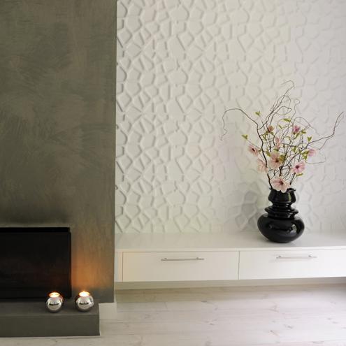 3d wandverkleidung weiß gebrochen linien formen einbaukamin minimalistisch