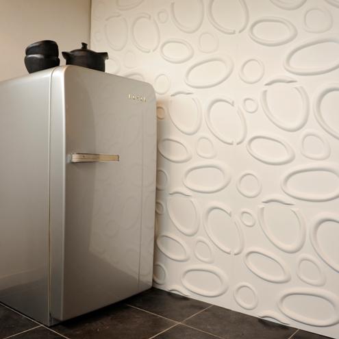 3d wandverkleidung weiß verspielt interessant fliesen küche kühlschrank