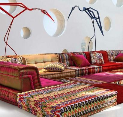 Modernes Sofa Design Gelber Stoff Missoni Polsterung