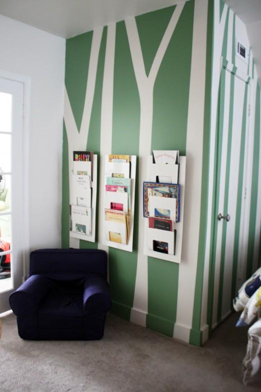 Coole Ideen Organisation von Kinderbüchereien Regale Wand Baum