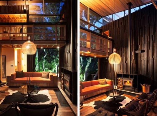Dunkle gemütliche Wohnzimmer Interieurs großartiges Design