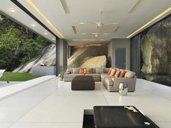 Ergreifende durchgehende Wohnzimmer Ausblick Ecksofa Design