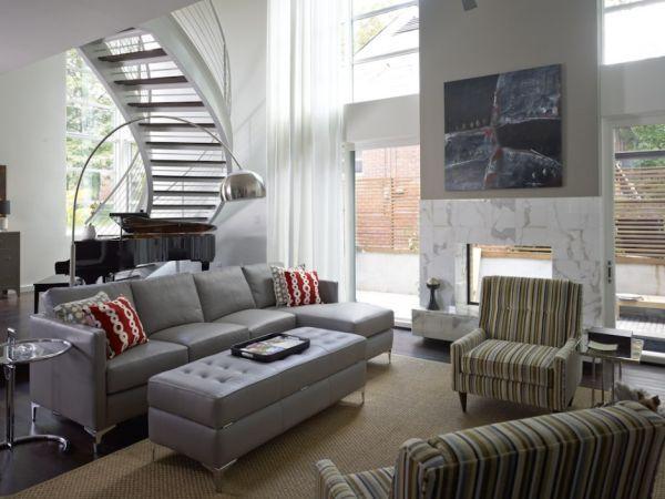 Ergreifende durchgehende Wohnzimmer Ausblick Ecksofa Sessel