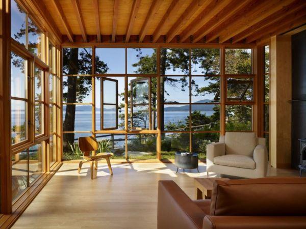 Ergreifende durchgehende Wohnzimmer Ausblick großartiges Interieur