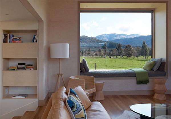 Fenstersitznischen inspirierte Ideen Bücherregal Sofa Kissen