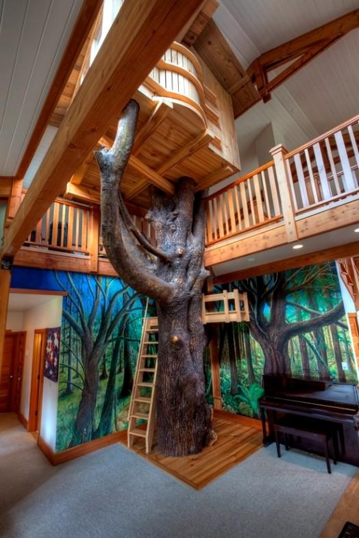 Indoor-Baumhäuser coole Ideen Kinder großes Haus Design