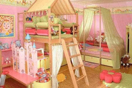 Kleinkinderzimmer-Ideen Mädchen Doppelzimmer Etagenbett Prinzessin