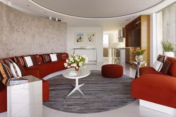 Kreisförmiges Wohnzimmer-Design für das moderne Haus