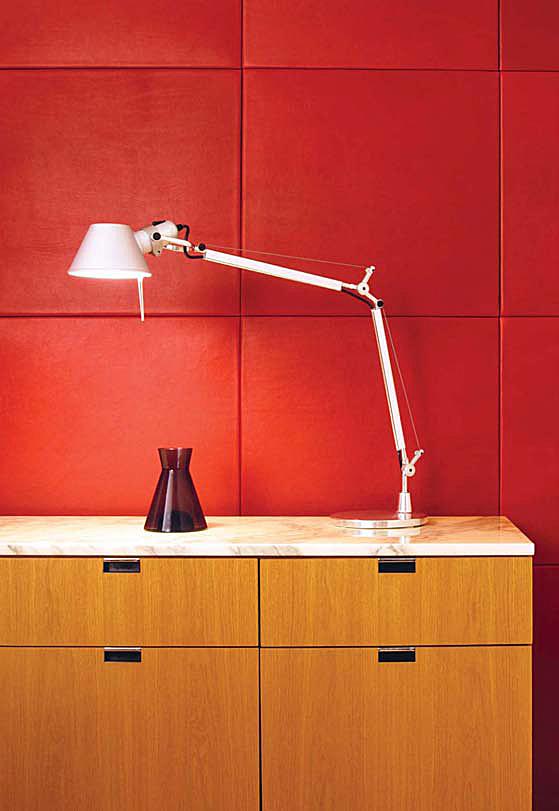 Lederstoffe Interieur-Gestaltungen Spinneybeck Lampe Kommode