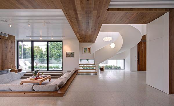 Moderne warme Villa Innenausstattung Wohnzimmer-Design