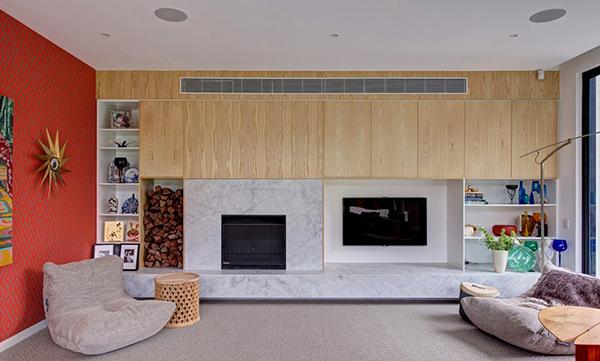 Moderne warme Villa Innenausstattung gemütliches Wohnzimmer