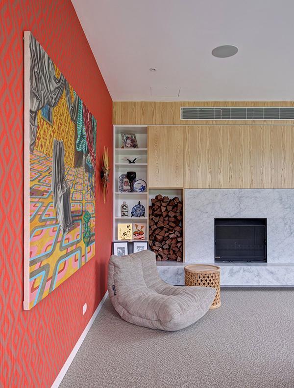 Moderne warme Villa Innenausstattung moderner Sessel