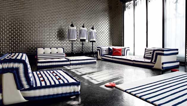 Nautische Wohnzimmer Roche Bobois Teppich Couch Sofa