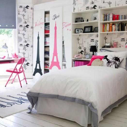 Schöne Gestaltungsideen Mädchen Kinderzimmer Schreibtisch Bett