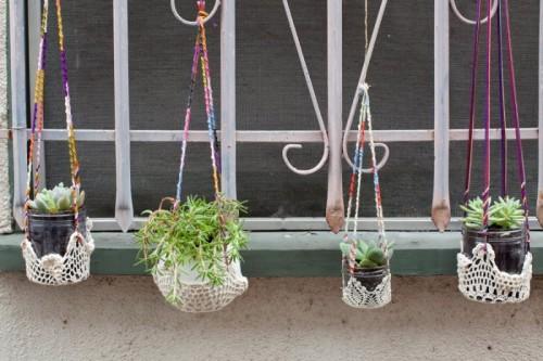 Selbstgemacht Ideen farbenfrohe Fensterhängepflanzen Garten