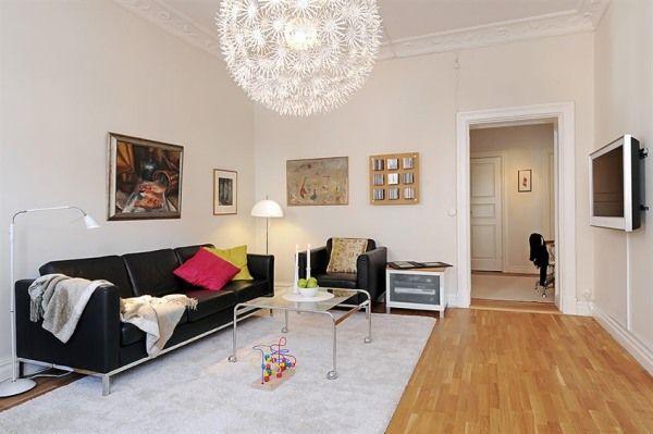 Skandinavische Wohnzimmer-Designs hypnotisierendem Effekt Ledersofa