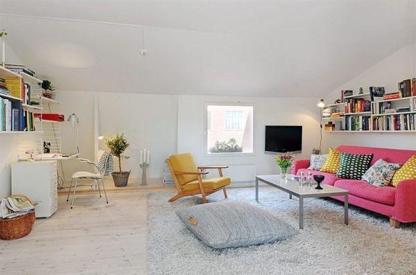 Wohnzimmer-Designs hypnotisierendem Effekt Rosa Sofa