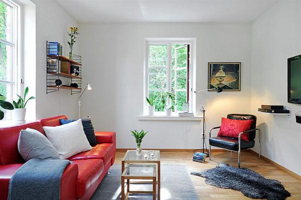 Skandinavische Wohnzimmer Designs hypnotisierendem Effekt Rot Sofa