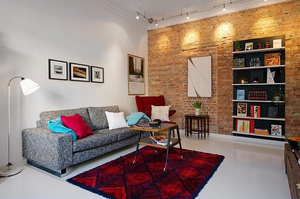 Wohnzimmer-Designs hypnotisierendem Effekt graues Sofa