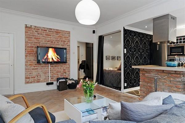 Skandinavische Wohnzimmer-Designs hypnotisierendem Effekt kleines Schlafzimmer