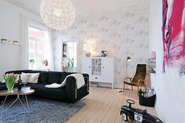 Skandinavische Wohnzimmer-Designs hypnotisierendem Effekt schwarz Sofa
