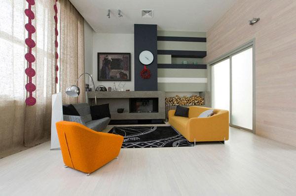 Spaßige Wohnzimmer-Gestaltung modernem Flair gelber Sessel