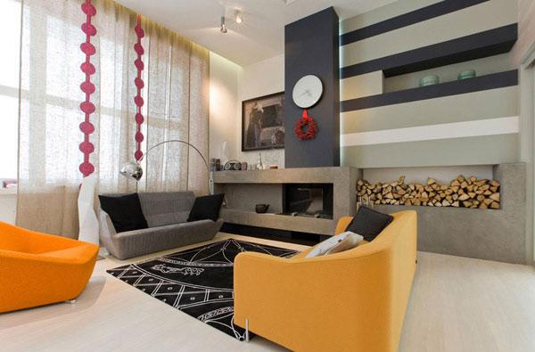 Spaßige Wohnzimmer-Gestaltung modernem Flair gelbes Sofa