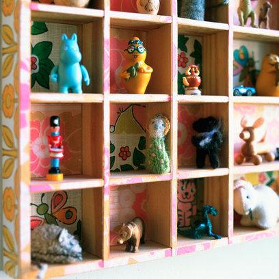 Spielzeugregal-Ideen Kinder Spielzeuge Spielfiguren Wand